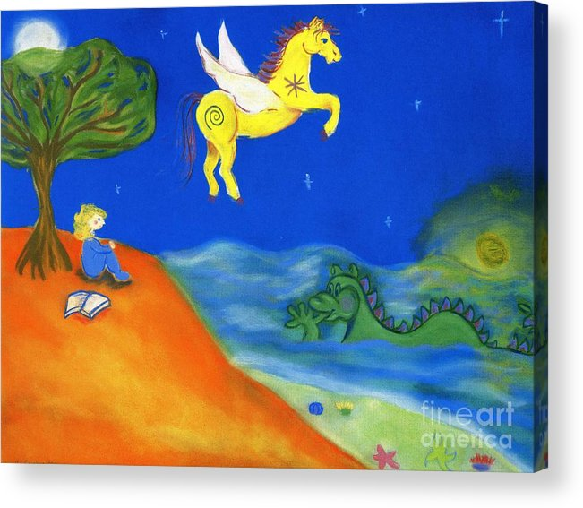 Pegasus Acrylic Print featuring the pastel Gentle Guardians by Christine Crosby