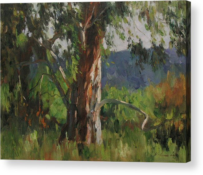 Landscape Acrylic Print featuring the painting Gentle Wind by Kelvin Lei