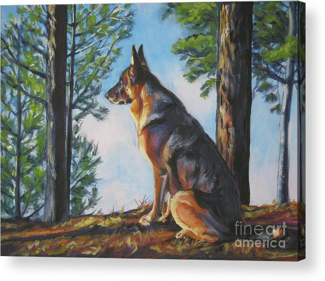 German Shepherd Acrylic Print featuring the painting German Shepherd Lookout by Lee Ann Shepard