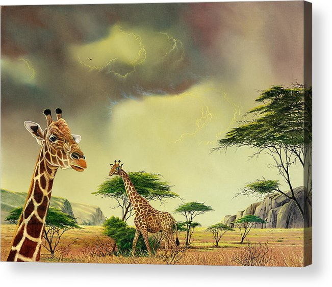 Landscape Acrylic Print featuring the painting Giraffes At Thabazimba by Don Griffiths