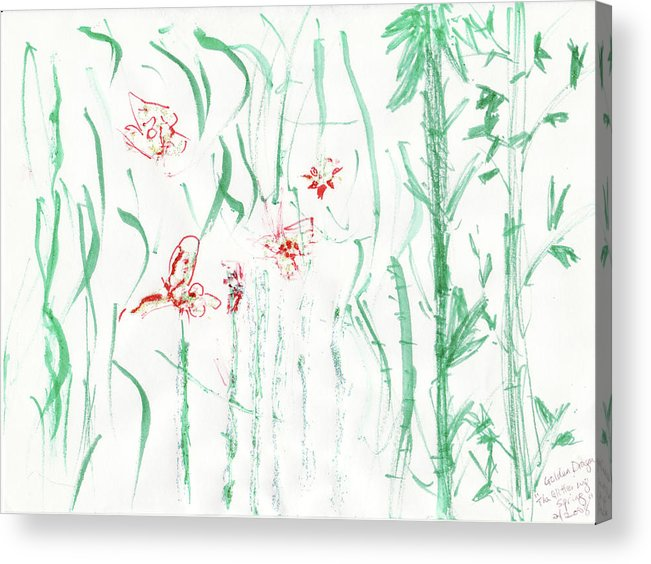 Spring Acrylic Print featuring the painting Glittering Spring by Golden Dragon