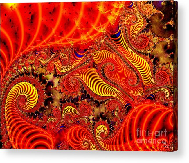 Coils Acrylic Print featuring the digital art Glow Coils by Ron Bissett