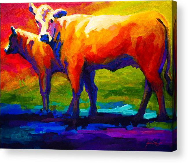 Cows Acrylic Print featuring the painting Golden Beauty by Marion Rose