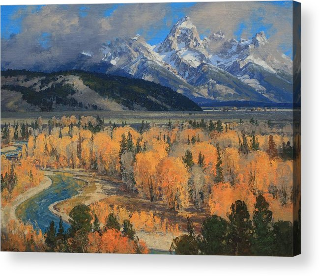 Landscape Acrylic Print featuring the painting Golden September by Lanny Grant