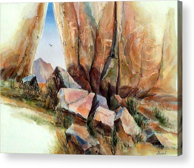 Southwest Landscape Mixed Media Acrylic Print featuring the painting Hall Of Giants by Don Trout