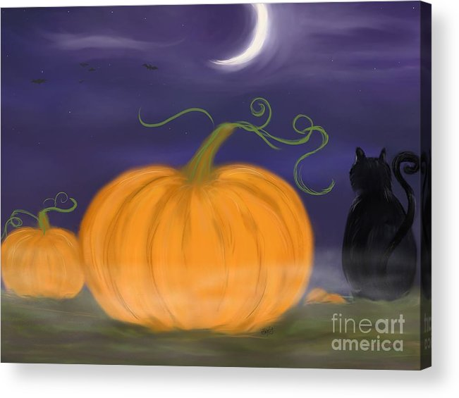 Samhain Acrylic Print featuring the painting Halloween Night by Roxy Riou