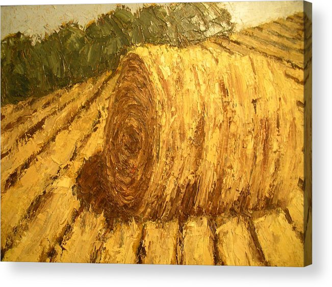 Art Sale Acrylic Print featuring the painting Haybale Hill by Jaylynn Johnson