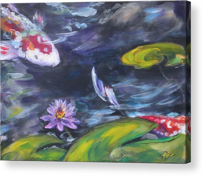 Koi Fish Lily Pad Water Waterscape Green Blue Red Pond Nature Acrylic Print featuring the painting Heads Or Tails by Alan Scott Craig