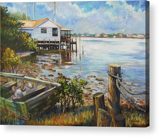 Old Rowboat Acrylic Print featuring the painting High And Dry by Dianna Willman