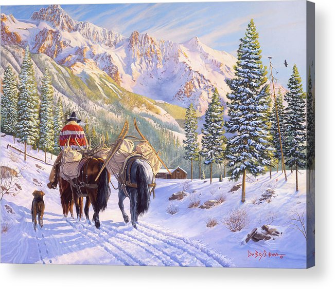Horses Acrylic Print featuring the painting High Country by Howard Dubois