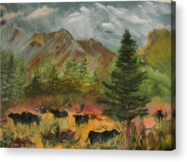 Landscape Acrylic Print featuring the painting Home On The Range by Jack Hampton