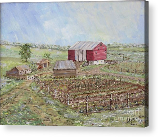 Red Barn With Several Other Small Sheds; Garden In Foreground; Landscape Acrylic Print featuring the painting Homeplace - The Barn And Vegetable Garden by Judith Espinoza