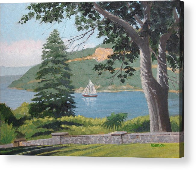 Landscape Waterscape Sail Boat Acrylic Print featuring the painting Hudson River Schooner by Robert Rohrich