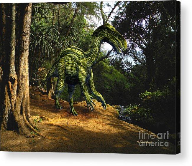 Dinosaur Art Acrylic Print featuring the mixed media Iguanodon In The Jungle by Frank Wilson