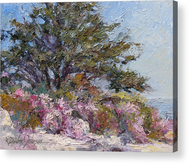 Plein Air Landscape Painting Acrylic Print featuring the painting In The Pink by L Diane Johnson