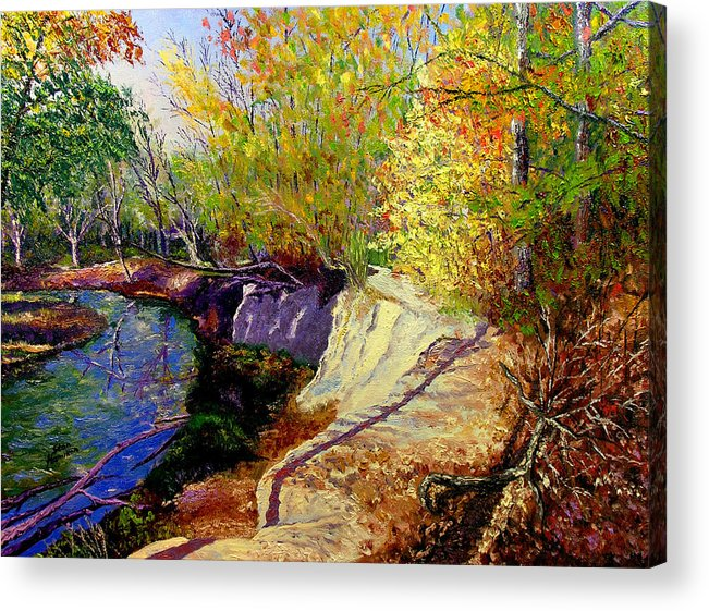 Fall Acrylic Print featuring the painting Indiana Creek Bank by Stan Hamilton