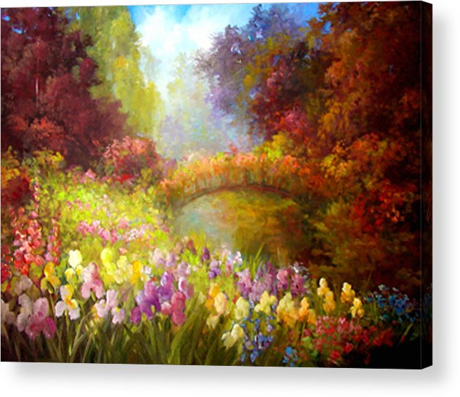 Floral Acrylic Print featuring the painting Iris-- Covered Bridge by Gail Salitui