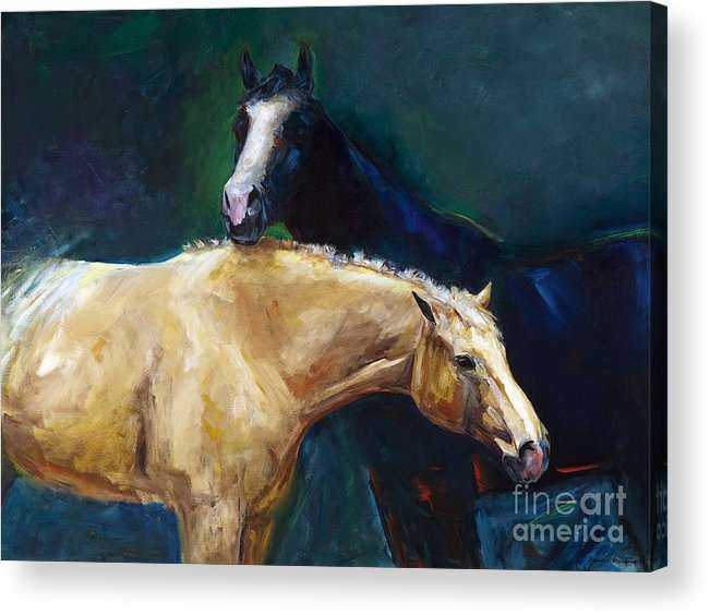 Horses Acrylic Print featuring the painting I've Got Your Back by Frances Marino
