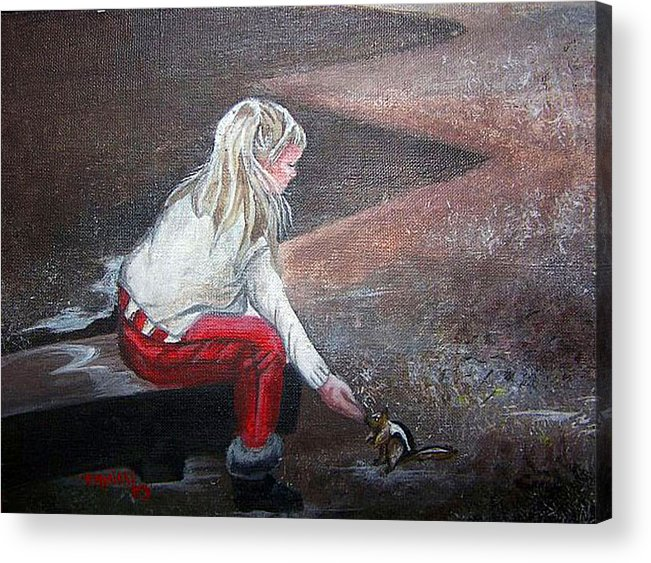 Squirrel Acrylic Print featuring the painting Jeannie Feeding Squirrel by Tammera Malicki-Wong