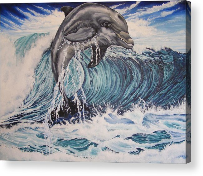 Dolphin Acrylic Print featuring the painting Joy by Donald Dean