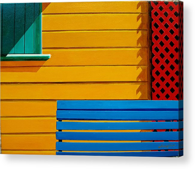 Architecture Acrylic Print featuring the painting La Boca Street Scene 33 by JoeRay Kelley