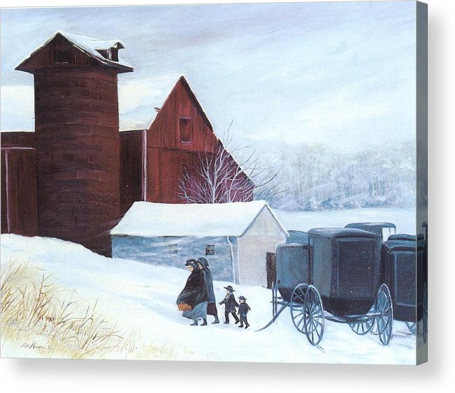 Amish;barn;buggies;winter;snow; Acrylic Print featuring the print Late Arrivals by Lois Mountz