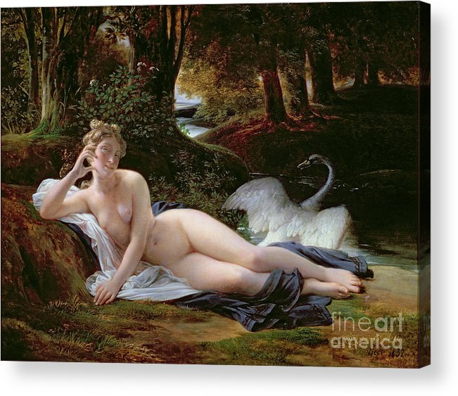 Leda Acrylic Print featuring the painting Leda And The Swan by Francois Edouard Picot