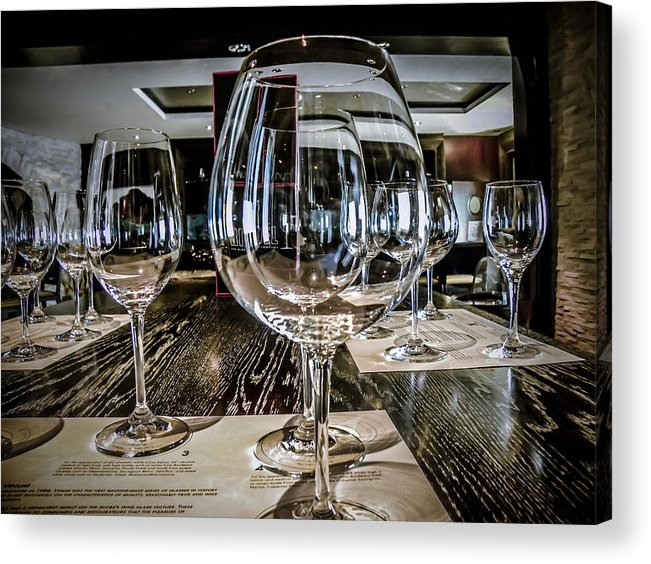 Wine Glasses Acrylic Print featuring the photograph Let The Wine Tasting Begin by Julie Palencia