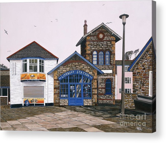 England Acrylic Print featuring the painting Lifeboat Station by Jiji Lee
