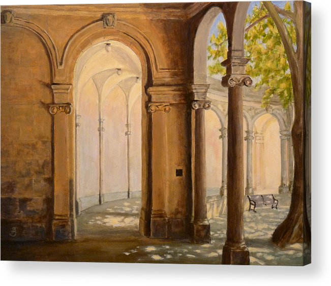 Landscape Acrylic Print featuring the painting Light At The End Of The Tunnel Monmouth University by Joe Bergholm