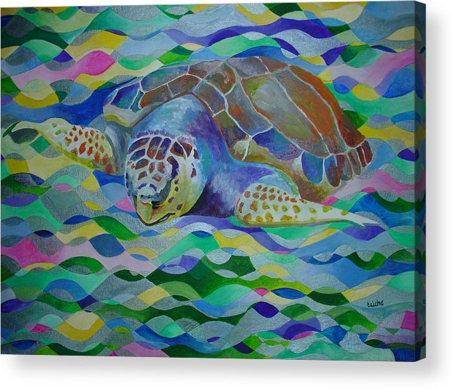 World Turtle Day Acrylic Print featuring the painting Loggerhead Turtle by Taiche Acrylic Art