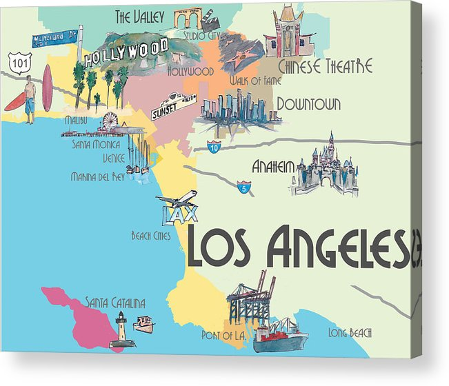 Los Angeles California Mapa.Los Angeles California Map Of Greater L A With Highlights Acrylic Print