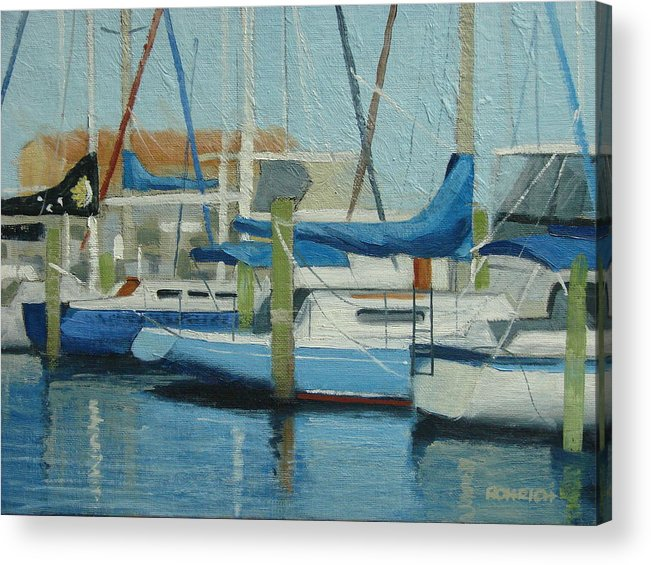 Boat Marinas Acrylic Print featuring the painting Marina No 4 by Robert Rohrich