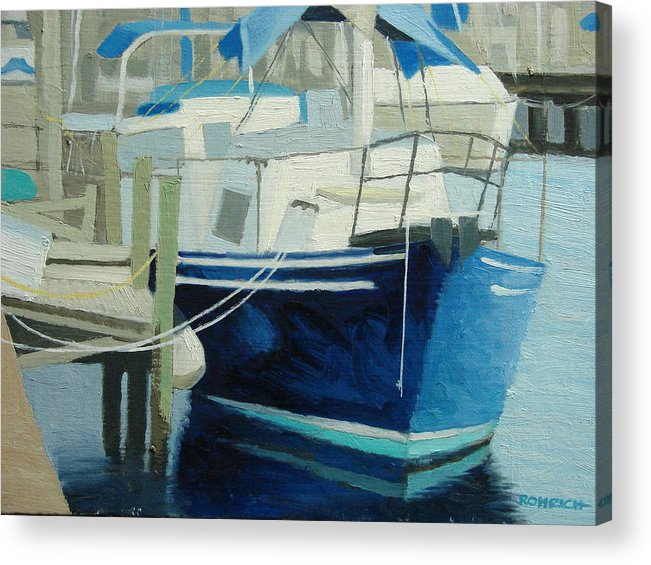 Boat Marinas Acrylic Print featuring the painting Marina No1 by Robert Rohrich