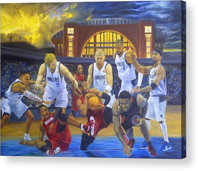 Mavs Acrylic Print featuring the painting Mavericks Defeat The King And His Court by Luis Antonio Vargas