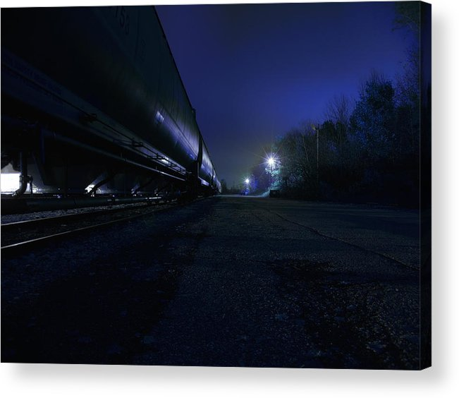 Night Acrylic Print featuring the photograph Midnight Train 1 by Scott Hovind