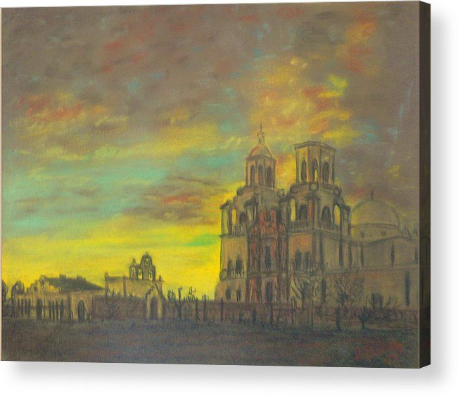 Sonoran Mission Acrylic Print featuring the painting Mission San Xavier Del Bac by Dan Bozich