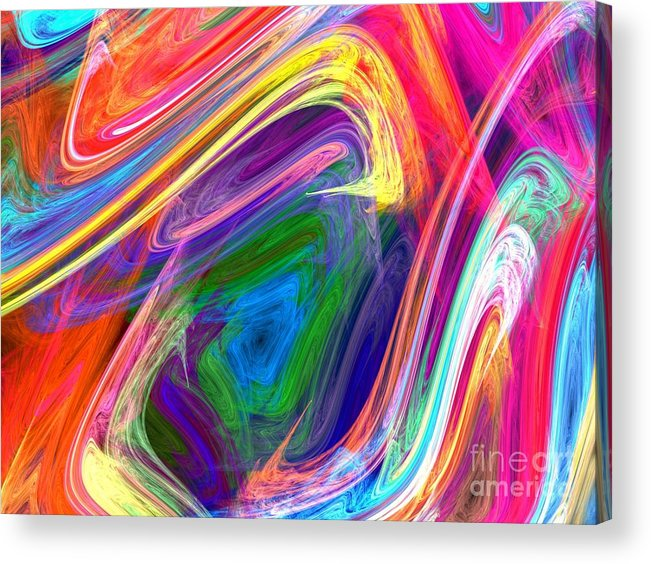 Abstract Acrylic Print featuring the digital art Modern Painting by Yali Shi