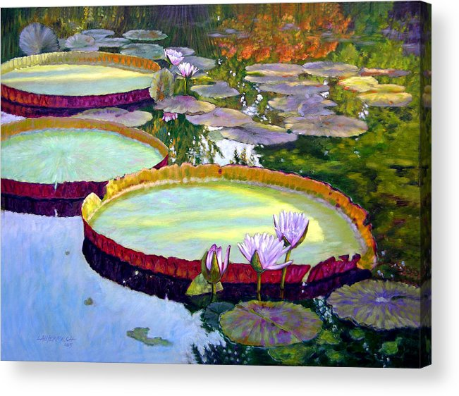 Garden Pond Acrylic Print featuring the painting Morning Highlights by John Lautermilch
