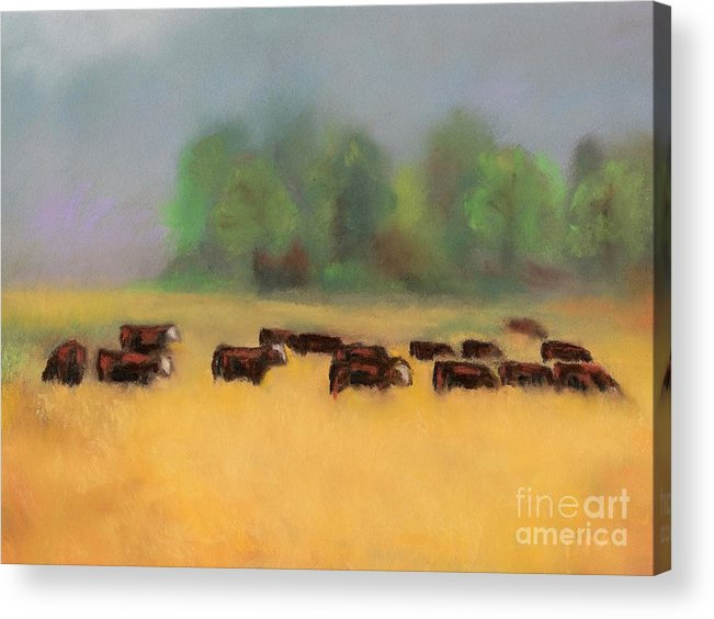 Cattle Acrylic Print featuring the painting Moving On by Frances Marino