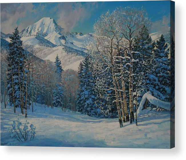 Landscape Acrylic Print featuring the painting Mt. Daly by Lanny Grant