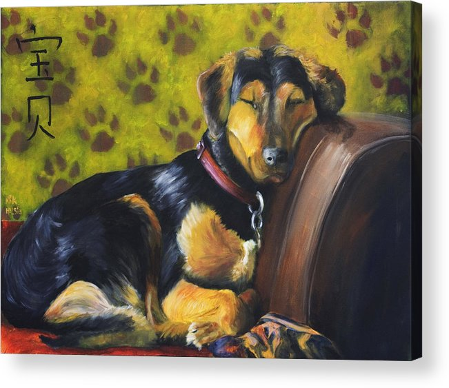 Dog Acrylic Print featuring the painting Murphy Vi Sleeping by Nik Helbig