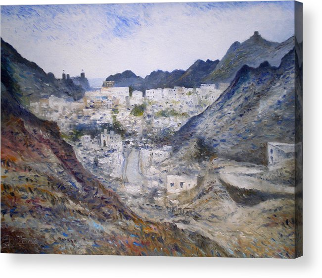 Muscat Oman. Enver Larney. Fine Art. Impressionism Acrylic Print featuring the painting Muscat Old Town Oman 2002 by Enver Larney