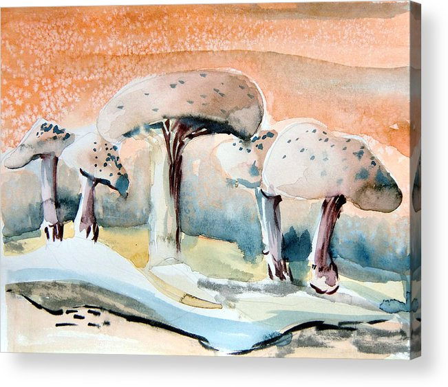 Mushrooms Acrylic Print featuring the painting Mushroom Heaven by Mindy Newman