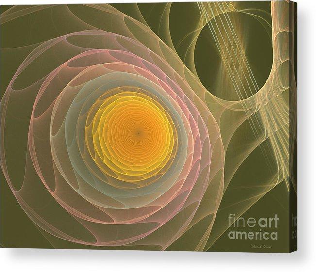 Fractal Acrylic Print featuring the mixed media My Guitar Strings by Deborah Benoit