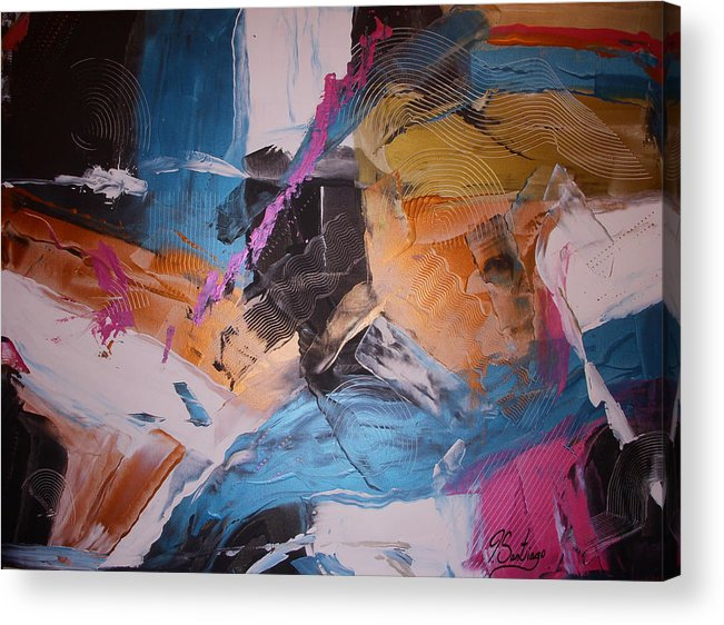 Original Painting Acrylic Print featuring the painting Neon Nights by Joey Santiago