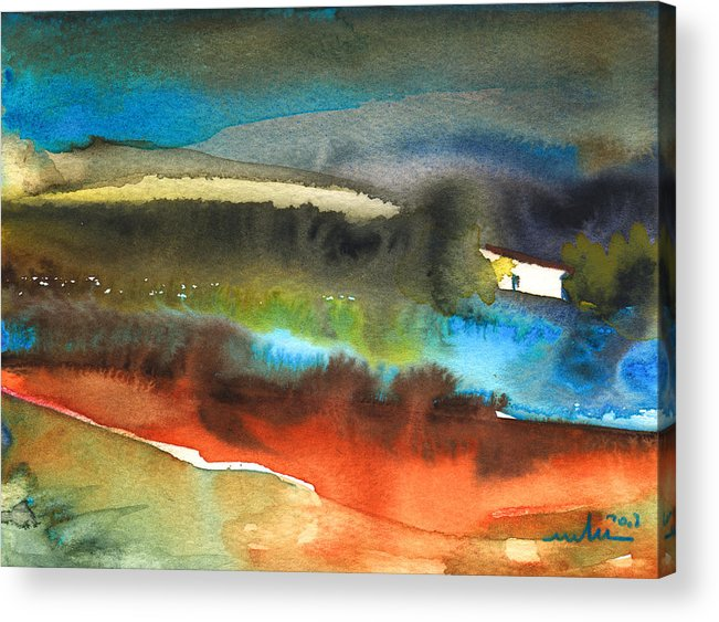 Watercolour Landscape Acrylic Print featuring the painting Nightfall 13 by Miki De Goodaboom