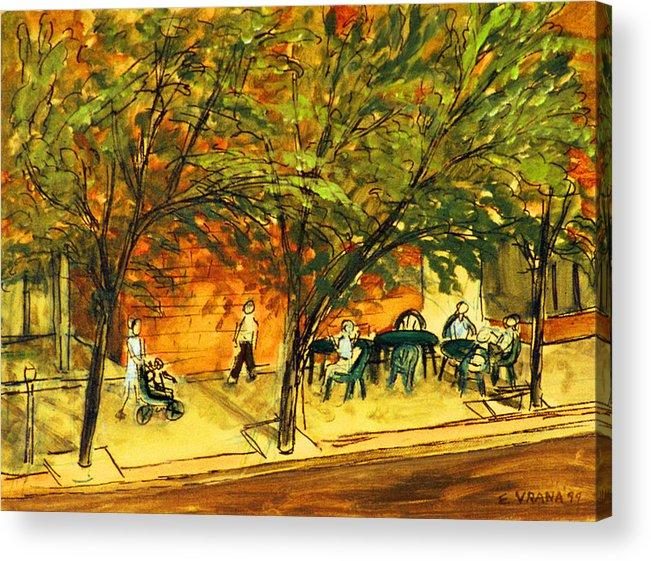 North Aurora Street Acrylic Print featuring the painting North Aurora Street Ithaca New York by Ethel Vrana
