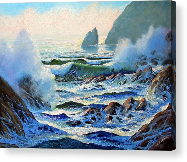 Seascape Acrylic Print featuring the painting North Coast Surf by Frank Wilson