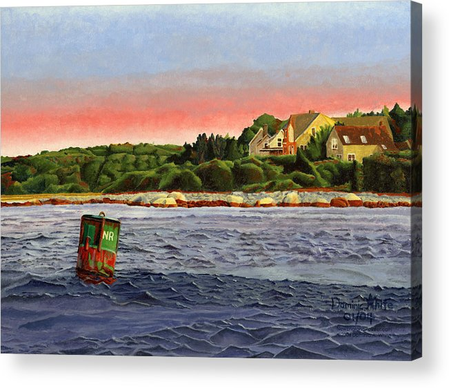 River Acrylic Print featuring the painting North River At Sunset by Dominic White